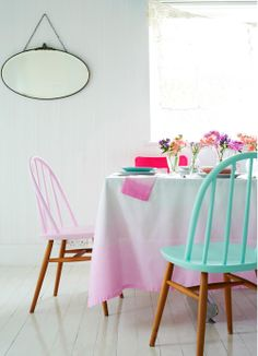 Ombre tablecloth and pastel chairs - Heart Handmade UK: Pastel Pink and Aqua/Mint Colour Inspiration | Charlotte Love Interior Styling.