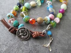 Multi color knotted mermaid necklace  BeachComber  by slashKnots, $105.00