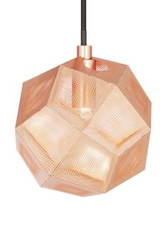 Tom Dixon Etch Mini Chandelier Light: Etch plays with repeated patterns, the reflection of light and casting of dramatic geometric shadows. Designed by iconic British designer Tom Dixon, each item is precision engineered using a high tech manufacturing technique to produce electronic products, including circuit boards. The method allows for intricate detailed patterns to be cut directly onto the trio of metallics and the panels are then hand assembled into a lightweight construction. The…