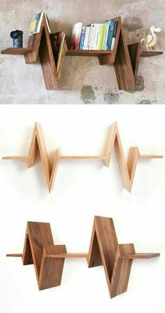 40 Amazing and Unique Wood Shelving Design Ideas For Your Home - Diy Furniture Beds Ideen Wooden Shelf Design, Shelving Design, Bookshelf Design, Wooden Shelves, Wood Design, Floating Shelves, Wood Shelf, Unique Bookshelves, Unique Shelves