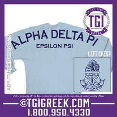TGI Greek - Alpha Delta Pi - Spirit Jersey - Greek Apparel #tgigreek #alphadeltapi #spiritjersey