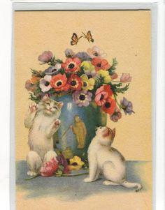 Kittens  Playing Around Oriental Vase by sharonfostervintage, $3.25