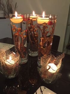 Add some dry or artificial arrangements in a wine glass .put water and floating candles to make a piece of attraction