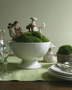 "See the ""Mushroom and Moss Centerpiece"" in our Woodland Decorating  gallery"
