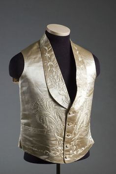 Man's wedding vest, 1859. Charleston Museum. Got to see this fabulous piece in person. The picture doesn't do it justice!
