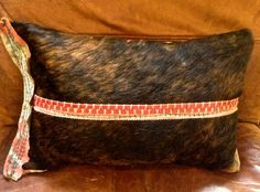 Hair on Cowhide Pillow, Lumbar Pillow, Leather Pillow by GretelStoudt on Etsy