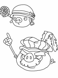 Angry birds epic coloring page - pigs
