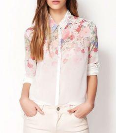 Hot Sell New 2015 Fashion Women Chiffon Blouses Women brand women blouses and shirts Chiffon Long Sleeved Shirts Women Tops Chiffon Blouses, Chiffon Shirt, Chiffon Floral, Print Chiffon, Blouses For Women, Beautiful Dresses, Long Sleeve Tops, Womens Fashion, Flower