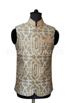 Cream Beige Splendid Nehru Jacket