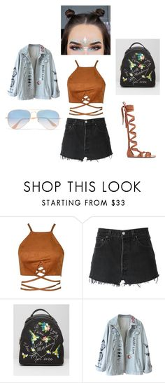 """""""late"""" by novisapenguin on Polyvore featuring RE/DONE, Love Moschino and Ray-Ban"""