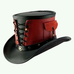 Steampunk Deadpool (possible NYCC 2013 costume) hat? Red-Vested Steampunk Top Hat - by Medieval Collectibles Steampunk Top Hat, Steampunk Costume, Steampunk Diy, Steampunk Clothing, Steampunk Fashion, Victorian Steampunk, Steampunk Gadgets, Gothic Fashion, Victorian Fashion