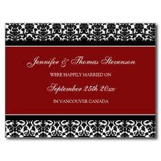 Just Married Announcement Postcards Red Damask