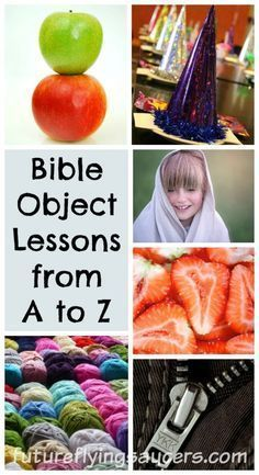 Bible Object Lessons A to Z Jesus used object lessons in many of His sermons. Here is a list of 26 creative Bible object lessons listed from the letter A to Z. Preschool Bible Lessons, Bible Object Lessons, Bible Lessons For Kids, Bible Activities, Preschool Sunday School Lessons, Bible Games, Preschool Alphabet, Church Activities, Children Activities