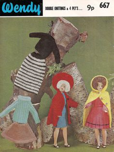 Super pattern for a 12 inch doll such as Sindy. Includes Coat & Beret, Cape, Black Sweater, Skirt, Long Sleeve Dress, Gored Skirt, Ribbed Sweater - pattern on Etsy