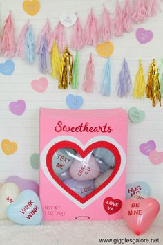 Give your friends something to talk about this Valentine's Day and host an adorable Conversation Heart Valentine's Day Party. Valentines Day History, Valentines Day Gifts For Her, Valentines Day Party, Valentine Day Crafts, Party Kulissen, Candy Party, Party Time, Party Ideas, Valentine's Day Quotes