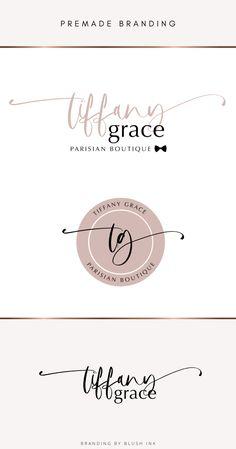 Branding Kit, Branding Design, Logo Design, Beauty Salon Logo, Boutique Logo, Script Logo, Blush, Feminine, Logos