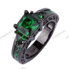 Jewelry new listing Ring sz6 to 10 Green Emerald lady's 10KT Black Gold Filled  #BlackGoldFilledrings #Classic