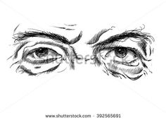 Hand Drawing Old Mans Eyes Glasses Stock Vector (Royalty Free) 392565691 Nature Sketches Pencil, Drawing Sketches, Art Drawings, Male Eyes, Male Face, Glasses Sketch, Eyebrows Sketch, Old Man Face, Guys Eyebrows