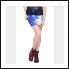 Blue Galaxy Contour Mini Skirt NEW Polyester, spandex Hot Topic Skirts Mini