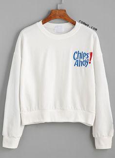White Drop Shoulder Letter Embroidered Sweatshirt