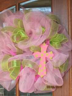A pastel spring wreath I customized for a client. Can do a monogram or cross. Pefect for Easter!