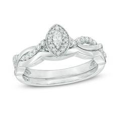 1/4+CT.+T.W.+Marquise+Diamond+Frame+Twist+Bridal+Set+in+10K+White+Gold
