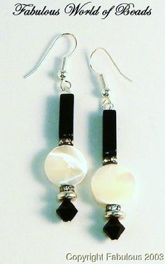 Earrings Art Deco Style Black Onyx With Mother of Pearl Coin Bead Swarovski Crystal Sterling Silver 925. $16.75, via Etsy.
