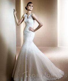 Bodycon Trumpet / Mermaid Straps Chapel Appliques Wedding Dress - Storedress.com on Wanelo