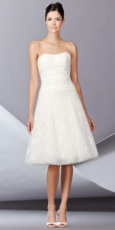 CAROLINA HERRERA FALL 2014: Strapless sweetheart neckline tulle dress with chiffon floral embroidery