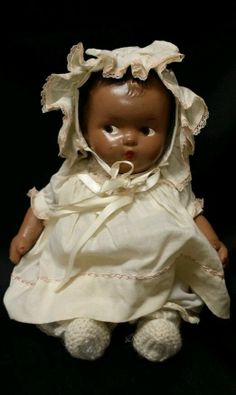 Sweet Black Composition Baby Doll  with Side Glance