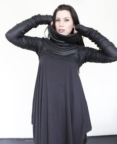 Made with this amazing French Terry with a Faux leather effect ! It even has thumb holes! Style it with your favorite Sophireaptress top and leggings! Pretty Outfits, Cute Outfits, Pretty Clothes, Weird Fashion, Dark Fashion, Loose Shirts, Lace Corset, All Black Everything, Alternative Fashion