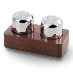 Beautiful stainless steel salt & pepper shakers set within a hand-carved Indian Rosewood base makes the Sierra salt and pepper set perfect for any dining occasion. - By Mary Jurek Design Salt And Pepper Holder, Salt And Pepper Set, Kitchen Tools And Gadgets, Vintage Perfume, Salt Pepper Shakers, Crock, Stuffed Peppers, Mary, Indian