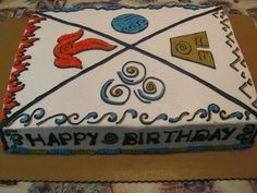 Avatar The Last Airbender cake with the four elements: earth, fire, air, and water.