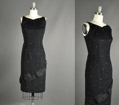 Vintage 1950s Dress /  black wiggle dress / 50s by NodtoModvintage, $122.00