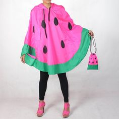 WATERMELON RAIN PONCHO: Made from high quality grid waterproof nylon 100 % Big drawstring hood, front have vertical hole6 inch long on a side to