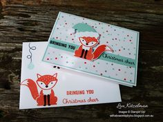Foxy Friends with Jolly Hat Builder punch, Christmas, Stampin' Up!, With a bow on top