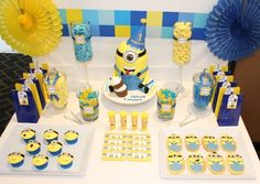 Minions - Despicable Me Birthday Party Candy table Minions Birthday Theme, Minion Party Theme, Despicable Me Party, Minions Despicable Me, First Birthday Parties, Birthday Party Decorations, 3rd Birthday, Birthday Ideas, Minion Candy