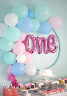 DIY Hula Hoop Balloon Wreath DecorationsBalloon WreathDiy 1st Birthday