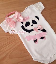 Body Panda no Newborn Girl Outfits, Cute Baby Girl Outfits, Baby Girl Romper, Baby Girl Dresses, My Baby Girl, Body Carnaval, Panda Outfit, Panda Party, Baby Jumpsuit
