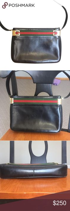 Vintage Gucci shoulder bag Vintage Gucci shoulder bag. Authentic. This bag is from the 80's maybe even the 70's. Beautiful black leather with gold hardware and Gucci's signature green and red stripe detailing. This is a rare and gorgeous piece of fashion history. 2 inside pockets, one zips. Some very very minor/unnoticeable scuffs. The inside is also leather and shows more scuffs. Shown in pictures but are very small so they may be hard to see. Respectable offers welcome! Gucci Bags Shoulder…