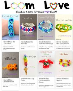 {Loom LOVE} Great collection of tutorials for the Rainbow Loom....