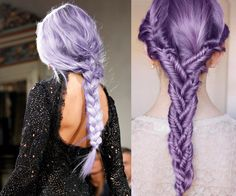 braids and plaits, lilac unicorn hair