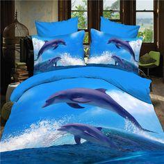 reactive 3d ocean cot bedding set duvet/doona cover bed sheet pillow cases 4pcs queen size velvety bedclothes