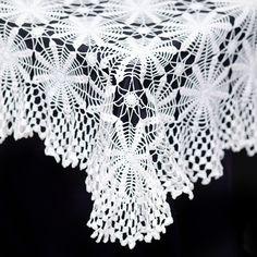 "Leann square tablecloth: White fluttered edgecrochet tablecloth.  Measures 50""square.  $10"