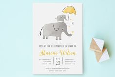 Elephant Love Baby Shower Invitations by Chryssi Tsoupanarias at minted.com