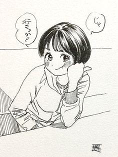 博(@siiteiebahiro) 님 | 트위터 Anime Drawings Sketches, Cool Art Drawings, Anime Sketch, Manga Drawing, Cool Artwork, Moe Manga, Manga Anime, Character Illustration, Illustration Art