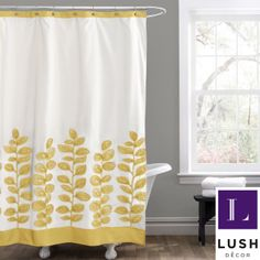 The Vineyard shower curtain features laser cut floral details made from ribbon embroidery. Constructed from high quality brushed poly, this curtain is machine washable for easy care and repeated use.