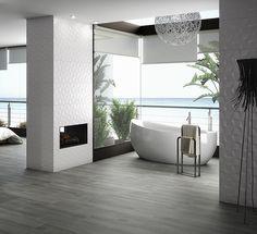 Baño. Pavimento cerámico imitando madera. Imagen 3D fotorrealista. actua.es