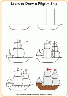 Thanksgiving Learn to Draw Printables.... awesome and FREE!!! Ships, pilgrims and more! Easy to print!