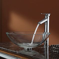 @Overstock - Take a modern approach to your bathroom fixtures with the installation of this Kraus glass vessel sink. The sink features a tempered clear glass vessel fed by a chrome faucet that offers a decorative choice for your bathroom sink needs.http://www.overstock.com/Home-Garden/Kraus-Crystal-Clear-Glass-Vessel-Sink-and-Decus-Faucet-Chrome/6472896/product.html?CID=214117 $199.95